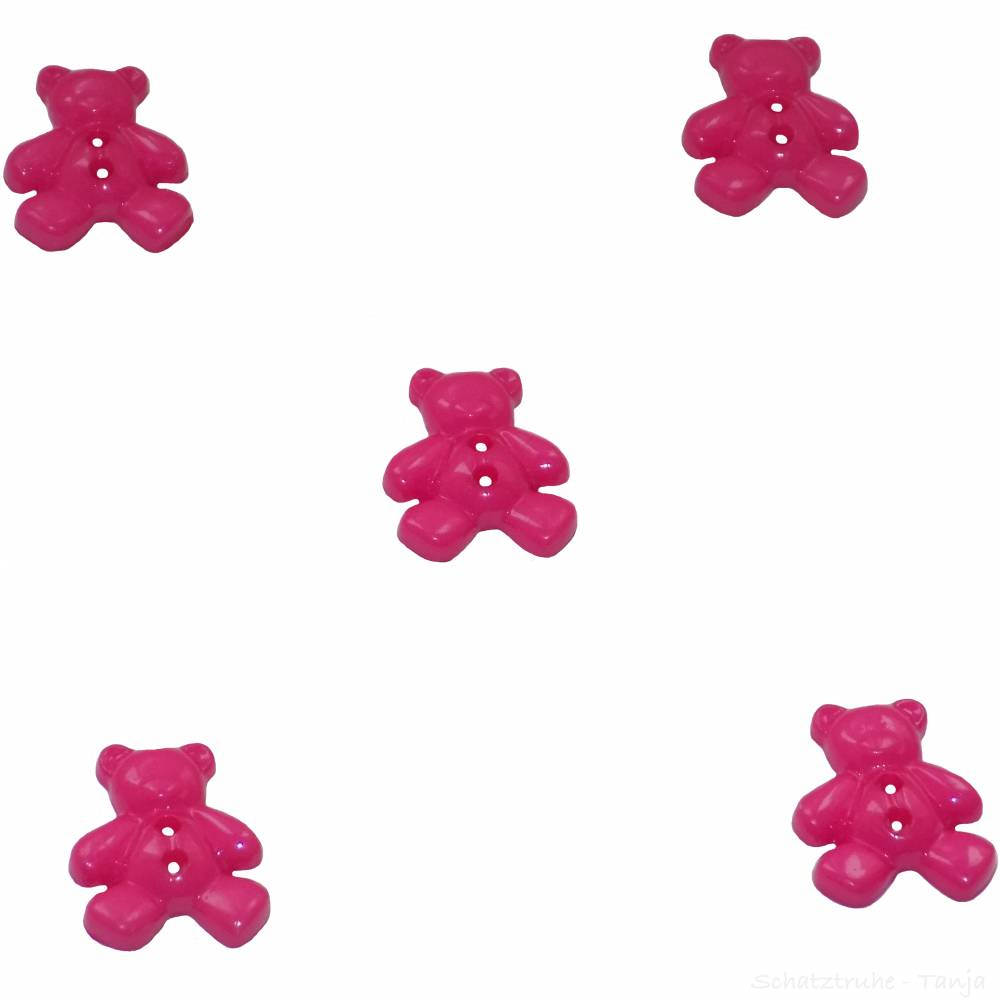 Kinderknöpfe Bären als Kunststoffknöpfe in pink 20 mm Bild 1