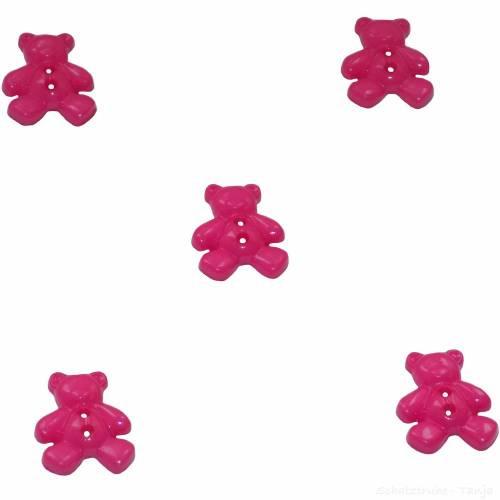 Kinderknöpfe Bären als Kunststoffknöpfe in pink 20 mm