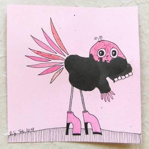 kleine Originalzeichnung, schwarz-rosa KlexMonster