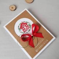 Weihnachtskarte, Weihnachten, Karte, Grußkarte, Karte zu Weihnachten, Weihnachtsgeschenk, Mistelzweig Bild 1