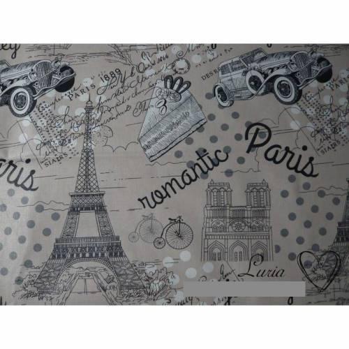 8,80 EUR/m Stoff Baumwolle - Paris, retro, grau auf beige