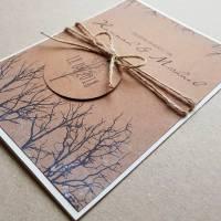 Einladungskarte, Winterhochzeit, Einladung Winterhochzeit, Einladung Baum, Äste, Kraftpapier, Winter, Hochzeit, Einladung mit Ästen, Einladung mit Schnee Bild 1
