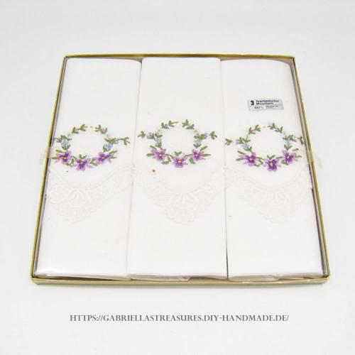 Damen Taschentücher bestickt weiß, 28x28, 3er Set, Mouchoirs, vintage, florales Stickmuster, neu&unbenutzt