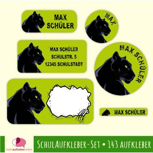 Schulaufkleber-Set | Schwarzer Panther - 143 teilig, Namensaufkleber, Stifteaufkleber, Adressaufkleber, Heftaufkleber