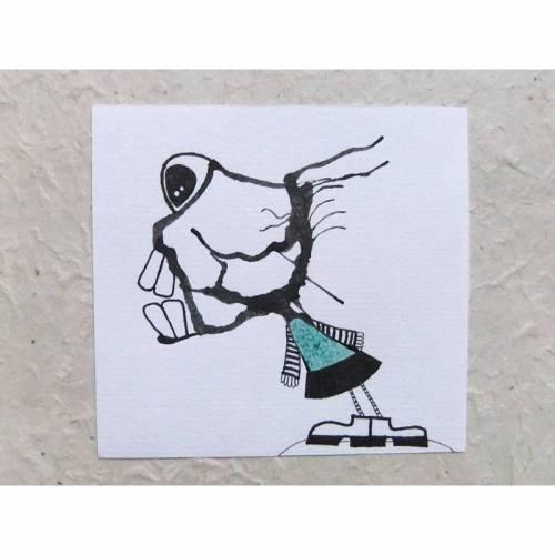Minibild, Zeichnung, Original, Tusche, Fineliner, KlexMonster im kurzen Kleidchen
