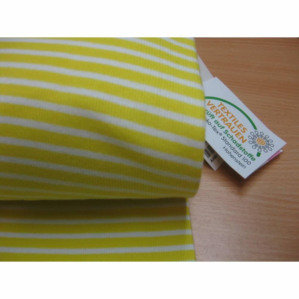 Bündchen, Schlauchware, Bündchenstoff,Feinrippe, Streifen,Gelb/weiß,Oeko-Tex Standard 100(1m/10,-€) Bild 1