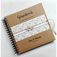 Gästebuch zur Hochzeit Kraft Spitzenmotiv Birkenherzen vintage personalisiert 60 Seiten 23x23 cm  Bild 1