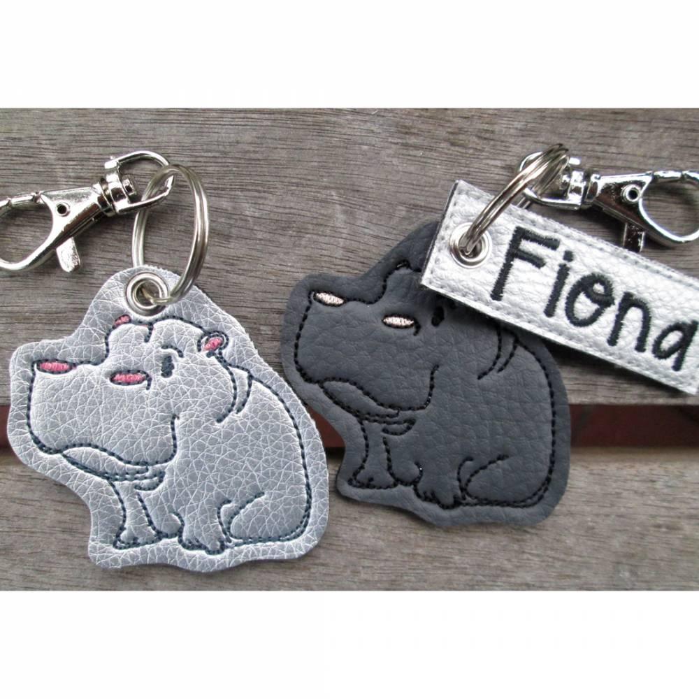 toller Schlüsselanhänger Nilpferd Hippo personalisierbar Bild 1