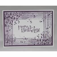 Geburtstagskarte mit Schnörkeln in violett und weiß Bild 1