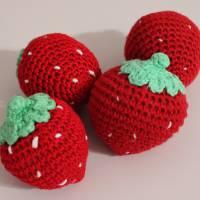 11-teiliges Set aus gehäkeltem Obst für Kinderküche und Kaufladen im Einkaufsnetz Bild 6