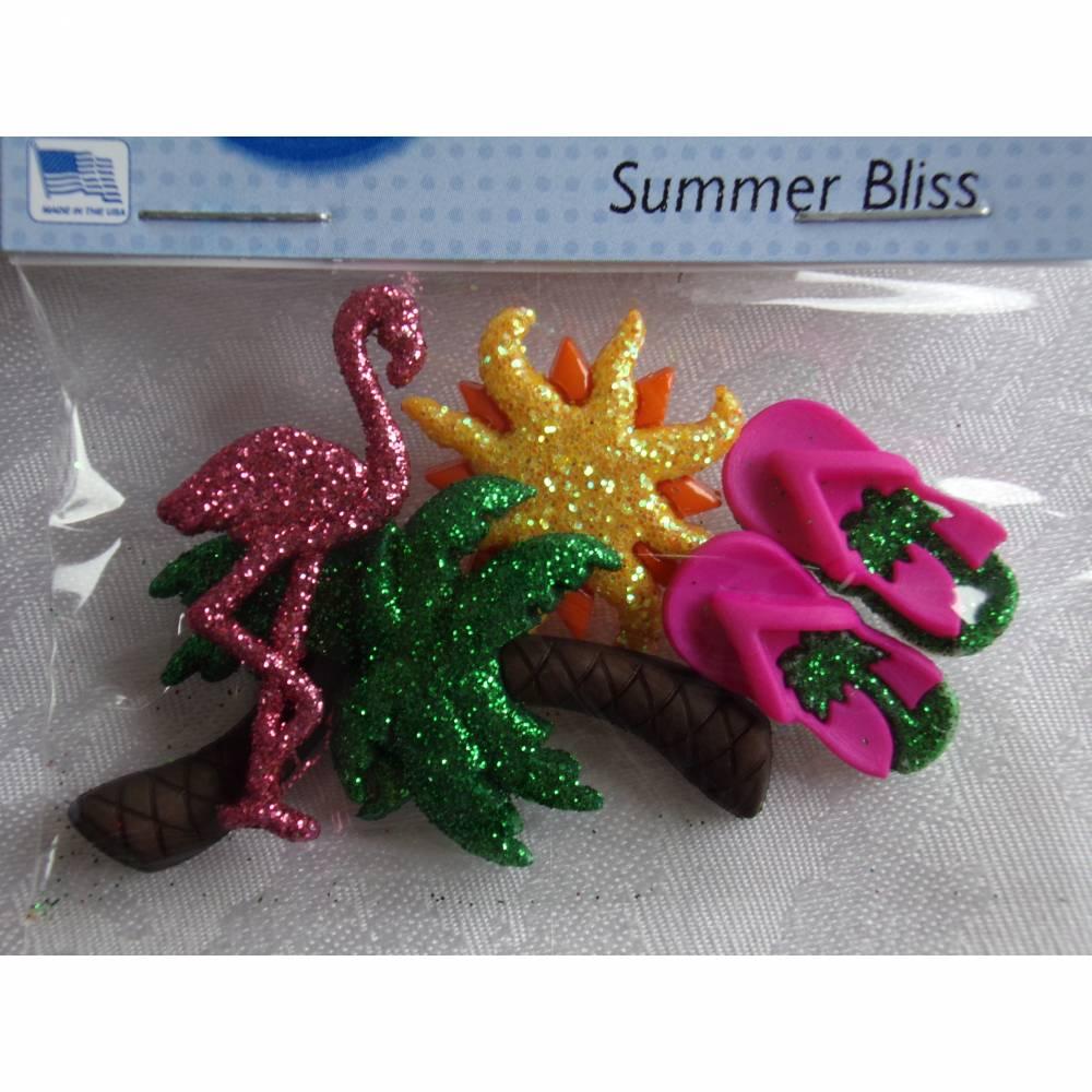 Dress it up Knöpfe + Buttons Glitzer am Strand  (1 Pck.)  Summer Bliss Bild 1
