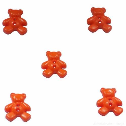 Kinderknöpfe Bären als Kunststoffknöpfe in orange 20 mm