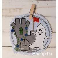 """Kindergartentasche """"Burg mit Gespenst"""", Freizeittasche, Tasche für Kinder, mit süßer Applikation und besticktem Namen, HoeppiDu Bild 1"""
