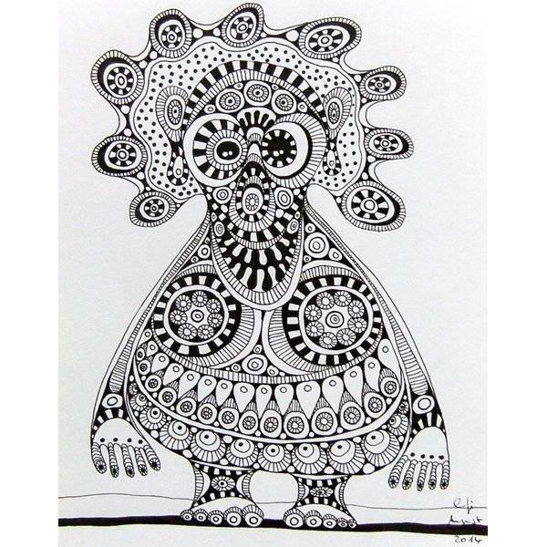 Original Zeichnung, schwarz-weiß, Fineliner, Ornament-Monster Nr 5 Bild 1