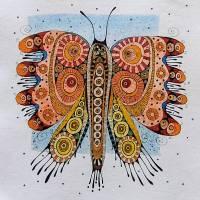 Original Zeichnung - bunter Schmetterling Bild 1