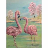 "Original Acrylbild ""Flamingos im Frühling"" - Kunst Bild Vögel gemalt Vogelmalerei Leinwandbild 60cmx80cm Bild 1"