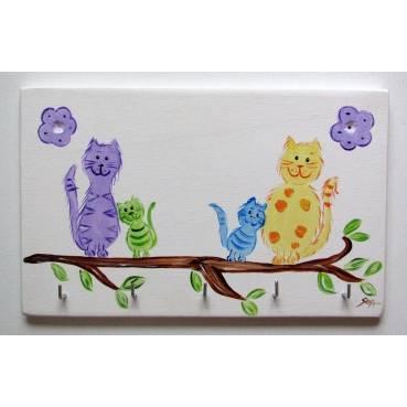 "Schlüsselbrett Schlüsselboard ""bunte Katzen"" Bild 1"