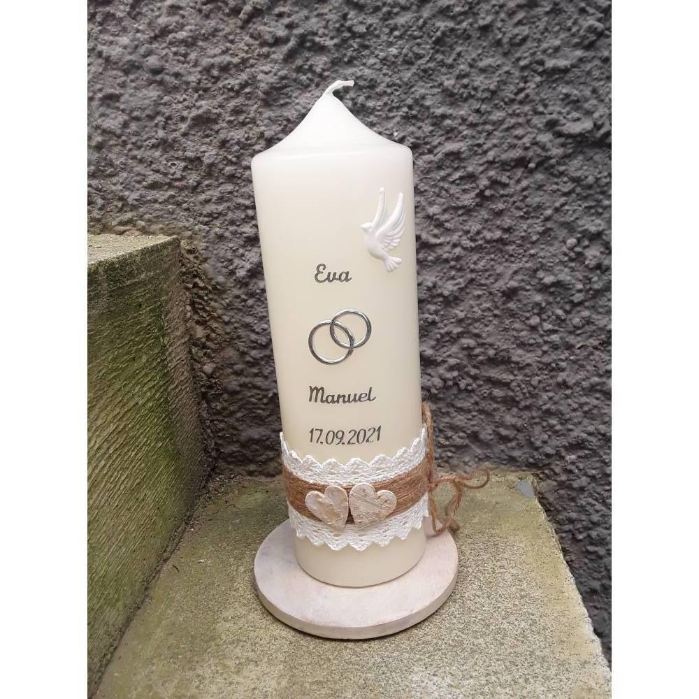 Hochzeitskerze Kerze zur Hochzeit vintage Häckelspitze Birkenherzen silber o. gold 25x8 cm creme Bild 1