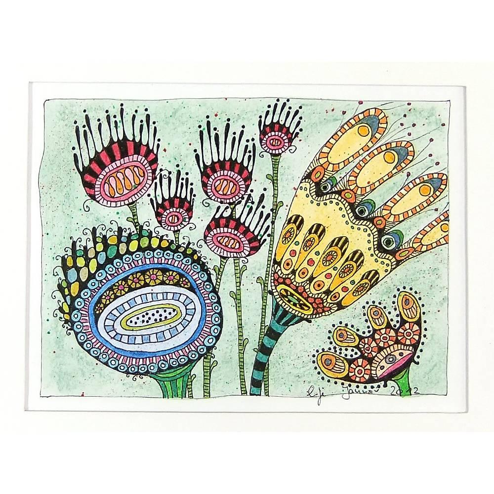 Original, bunte Blumenzeichnung, Blumen im Wind, mit Passepartout 24 cm x 18 cm Bild 1