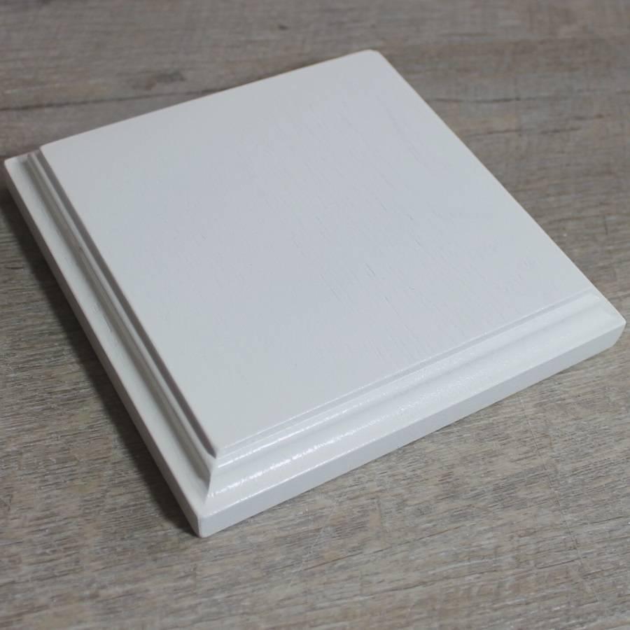 Weißer Holzsockel für 3d Handabdruck oder Fußabdruck, Buche Bild 1