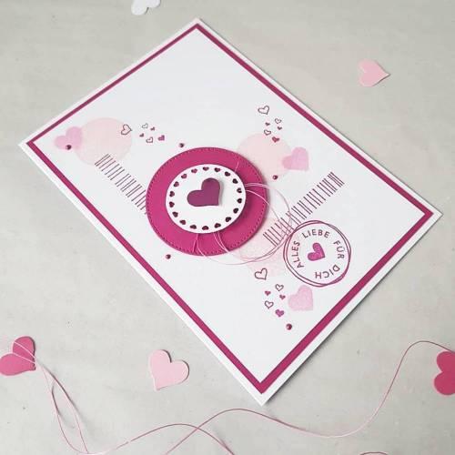 Geburtstagskarte, Karte mit Herzen, Karte zum Geburtstag Glückwunschkarte Grußkarte pink