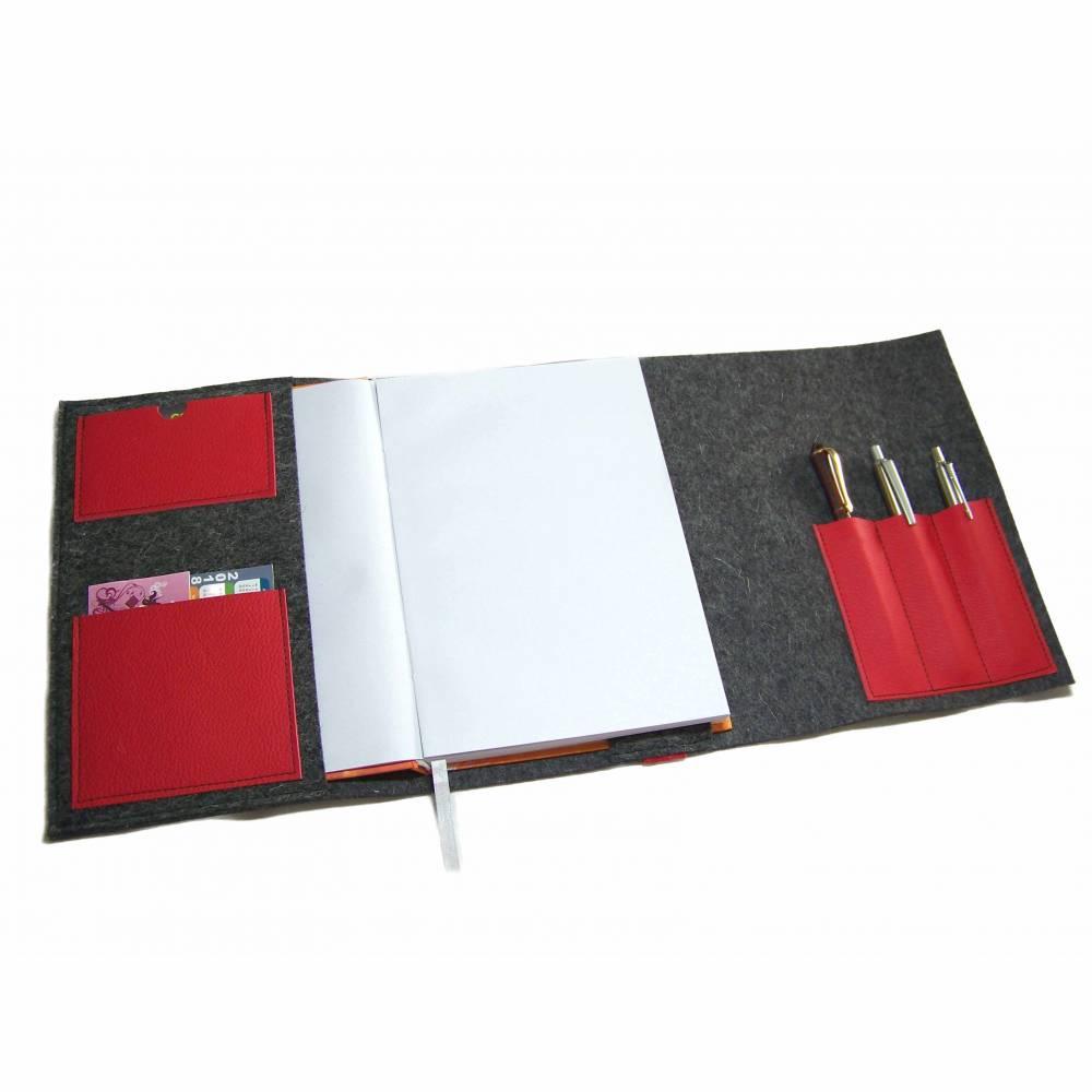 Kalender Organizer Kalenderhülle Hülle Einband Merino Wollfilz mit Leder und Gummiband Farbwahl für Din A5 Buchkalender, Notizbuch, Buch Bild 1