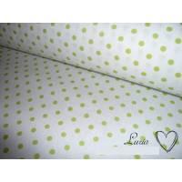 8,30 EUR/m Stoff Baumwolle Punkte hellgrün weiß 4mm Ökotex