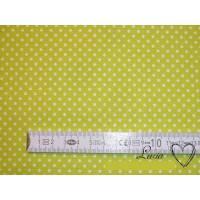 8,80 EUR/m Stoff Baumwolle - Punkte weiß auf leuchtend grün / Frühling / 2mm