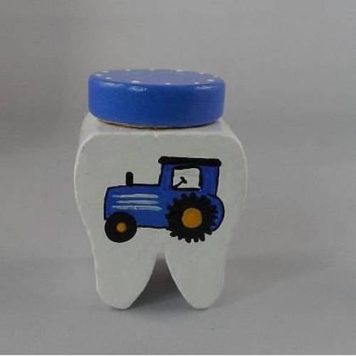 Zahndose Traktor mit Name Milchzahndose Zahnfee  Zahnaufbewahrung Handarbeit