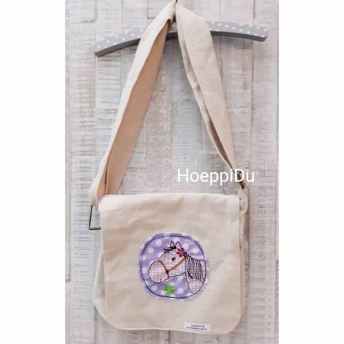 """Kindergartentasche """"Pferd"""", Freizeittasche, Tasche für Kinder, mit süßer Applikation und besticktem Namen, HoeppiDu"""