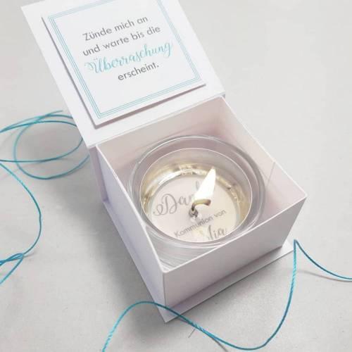 10x Gastgeschenk Kommunion Konfirmation Taufe, Teelicht mit Botschaft, Gastgeschenkidee Goodie Tischlicht Kerze Tischdeko