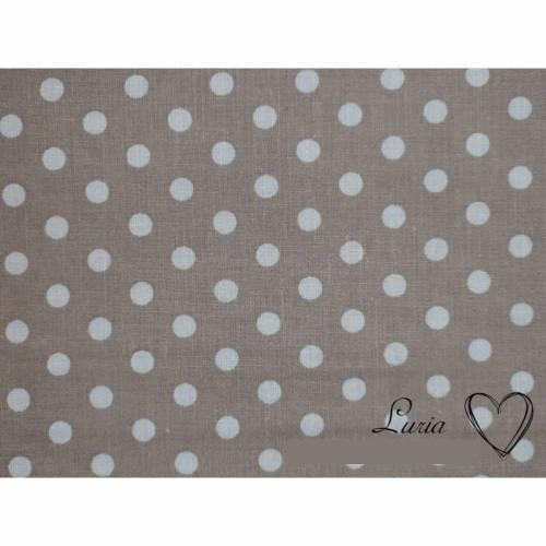 7,90 EUR/m Stoff Baumwolle Punkte weiß beige hellbraun 6mm