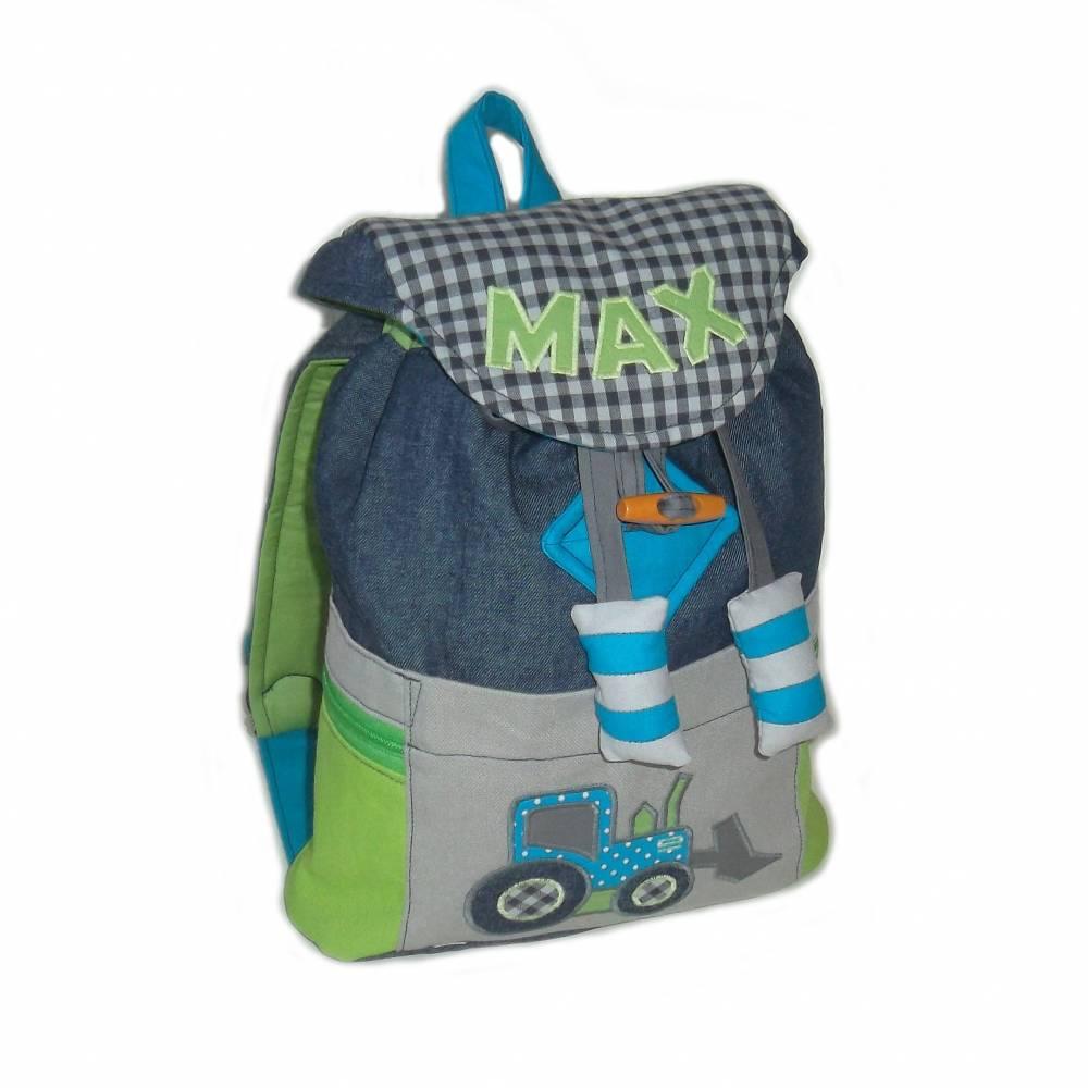 Kinderrucksack / Kindergartenrucksack Baustelle (Jeans) für Jungen mit Zugband Bild 1