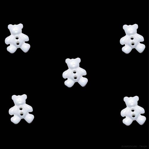 Kinderknöpfe Bären als Kunststoffknöpfe in Schneeweiß 20 mm