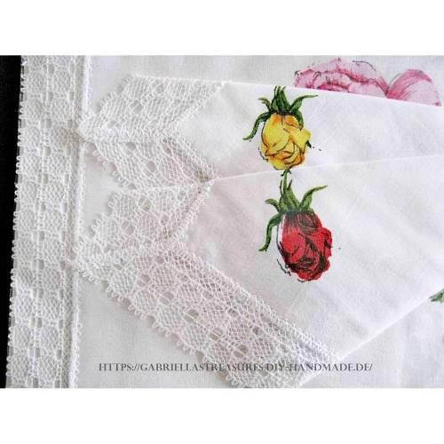 Vintage Damen Taschentücher Stoff weiß, 3er Set, MACO, Spitze, neu&unbenutzt