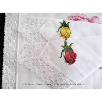 Vintage Damen Taschentücher Stoff weiß, 3er Set, MACO, Spitze, neu&unbenutzt Bild 1