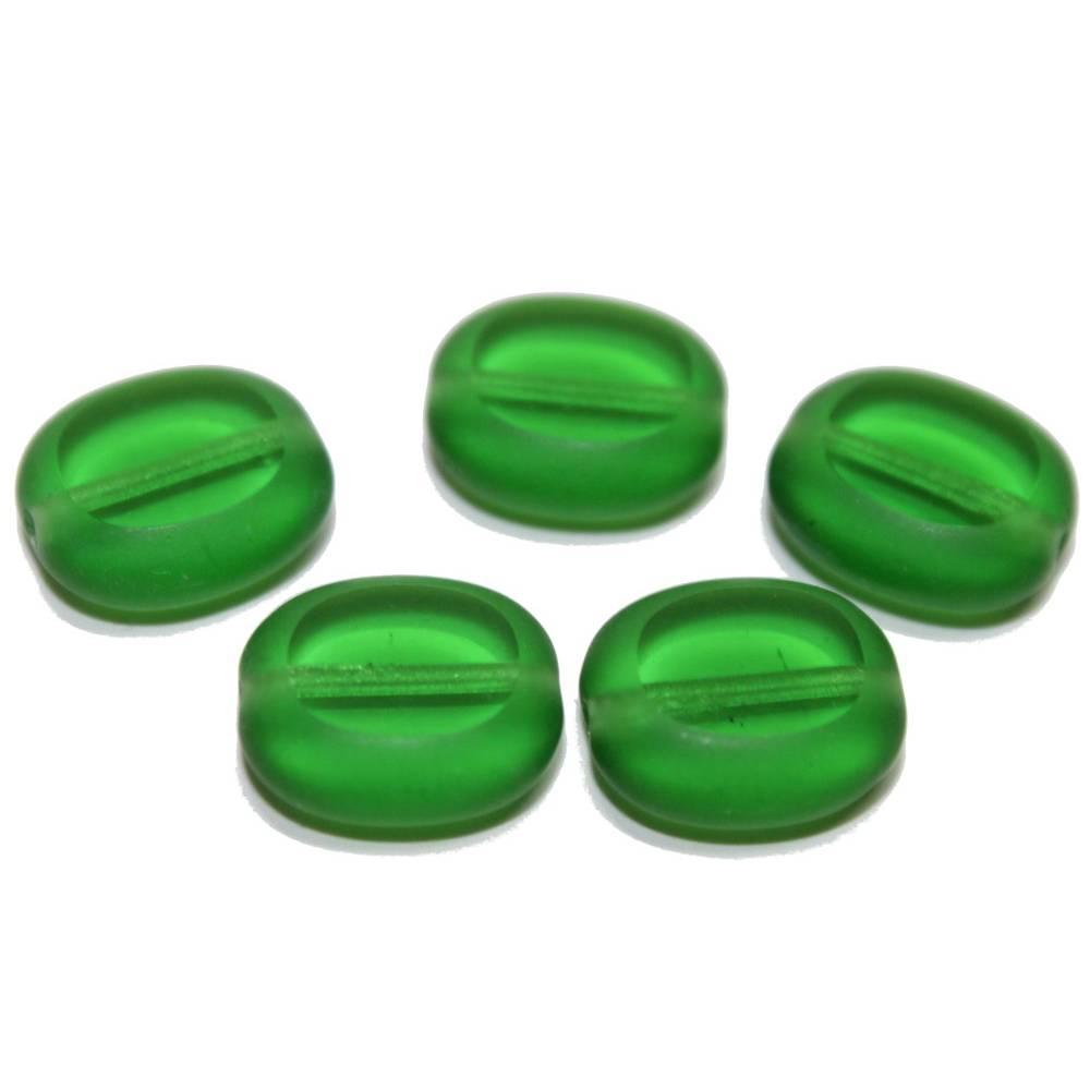 5 Böhmische Glasperlen Button, green, 14x12 mm Bild 1