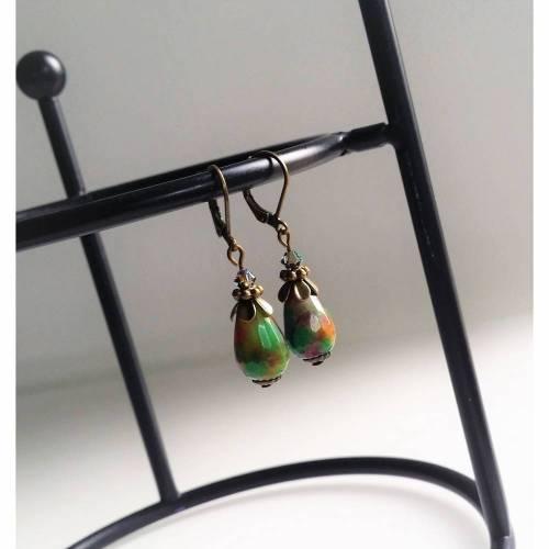 Ohrringe // Jade // Tropfen (grün-bunt / bronzefarben)