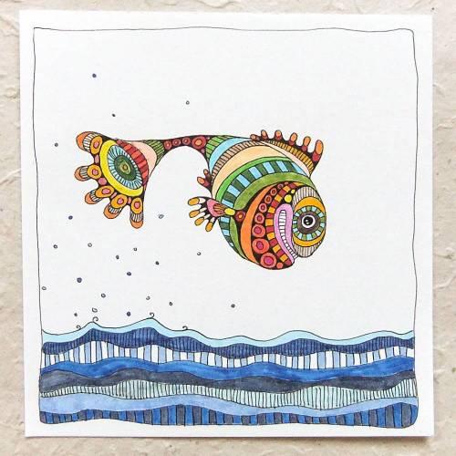 bunte Zeichnung, Original, quadratisches Bild, Titel: springender Grinsefisch
