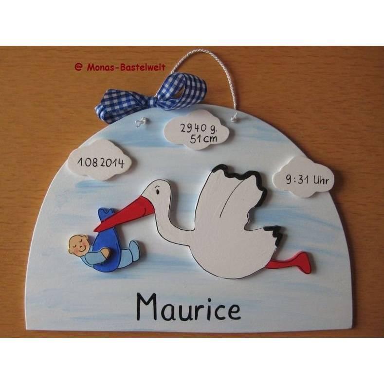 Storch, Türschild, Geburtsschild, Geburtsgeschenk, Storch mit Baby, Holzhandarbeit, Holz, Babyparty, Klapperstorch Bild 1