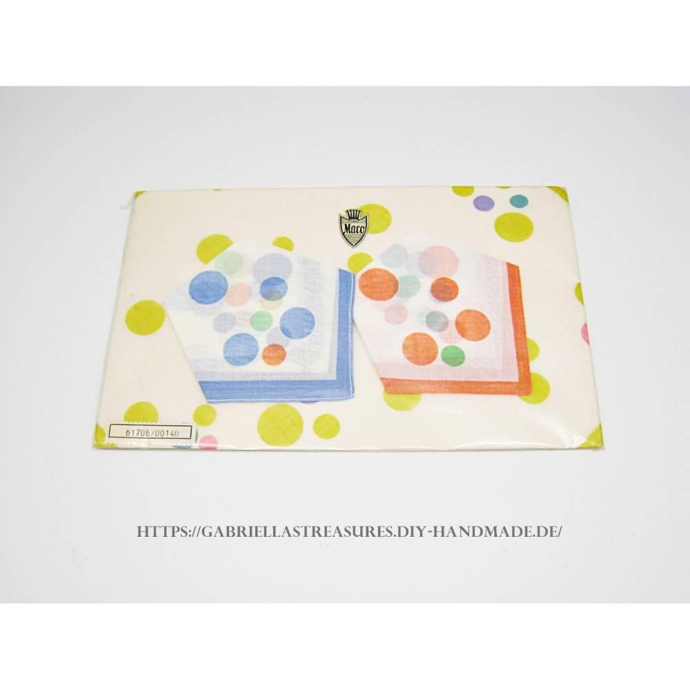 Vintage, KinderTaschentücher, 3er Set, dreifarbig bedruckt, Kreise, blau, gelb, rot, Baumwolle,  Bild 1